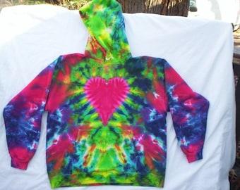 Heart Tie Dye Hoodie Size Large