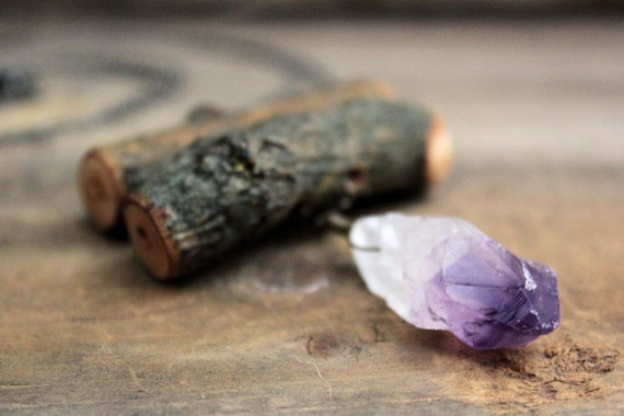 Wychwood. Rustic Willow and Amethyst Necklace.