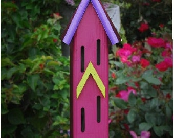 Whimsical Butterfly House, Butterfly Houses, Painted Butterfly Houses, Garden decor