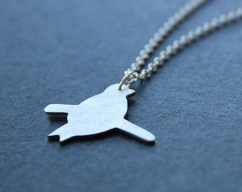 Bird on a twig necklace. Sterling silver. Handmade. Contemporary design.