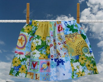 patchwork skirt, girls handmade skirt, spring skirt, coloful patchwork, unique clothing, twirl skirt, hippie boho, flowers, new fabrics,cute