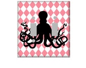 Nursery Nautical Octopus Light Switch Cover in Your Choice of Colors Pink or Turquiose
