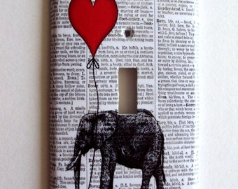 Switchplate Cover, Single switchplate, Double Switch Plate, bedroom,  red balloon art, elephant print, dictionary switchplate
