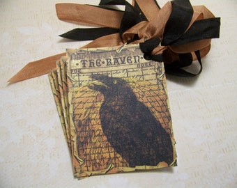 Halloween Tags The Raven Edgar Allan Poe Gothic Vintage Style Set of 6 or 9