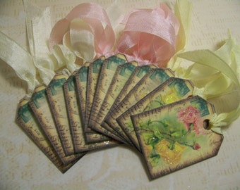 Bird and Flower Tags 2 - Vintage inspired - Set of 12