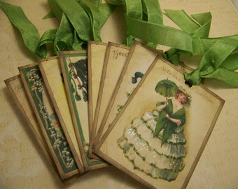St. Patricks Day Tags - Vintage Style - Set of 8