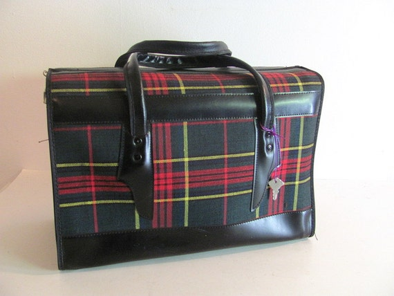 Vintage 1960's Red Tartan Plaid Suitcase / small overnighter