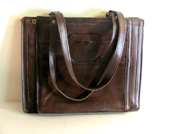 Vintage brown leather laptop hand / shoulder bag briefcase / distressed