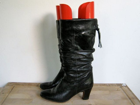 vintage tall black leather Bulgarian boots 8