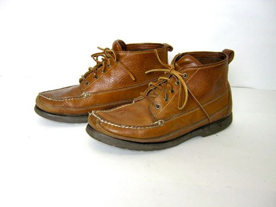 vintage brown leather lace up men's ankle boots 10