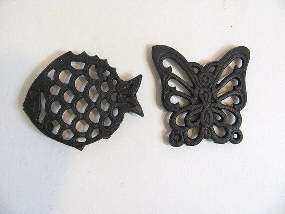 Vintage Black Iron Butterfly and Fish Trivets or coasters // hot plates pads