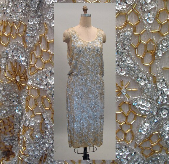 1980s Silver and Gold Beaded Cocktail or Wedding Dress in the 1920s Style