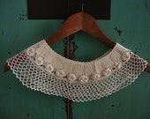 romantic crochet lace collar in rose pattern - wearable art