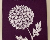 "Chrysanthemum white hand pulled block print on acid free textured purple paper 5""x7"""