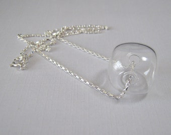 SALE - Crystal Cube Necklace - Handmade Glass Bubbles on Sterling Silver Chain (N-192)