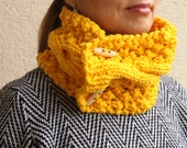 Yellow Cable Chunky Knit Cowl Neck Warmers Scarf With Buttons