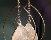 Natural Sparkle Druzy Hoops