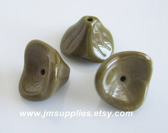 10x12mm Opaque Olive, Three Petal Flower Beads