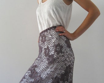 Hand dyed, hand crocheted Vintage Irish Lace Skirt from BASIA DESIGNS Private Collection - Free U.S. Shipping