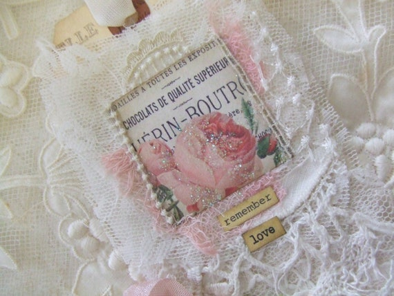 Shabby Rose Bridal Gift Tag with Vintage Bridal Lace