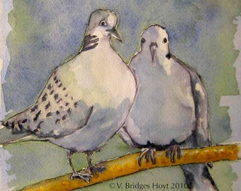 Two Turtle Doves Wedding or Anniversary Gift, 6x6 Print, Home Decor Art by Vernita Hoyt