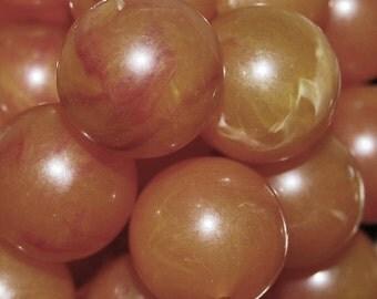 Vintage 10 PAle Cadmium Orange and Red Marbelized 18mm Beads N2R