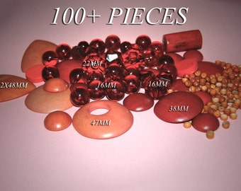 Detash Lot of 100 Plus Red and orange Beads and Findings AM1