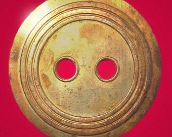 Vintage Huge Brass 46mm Button H4L H4L