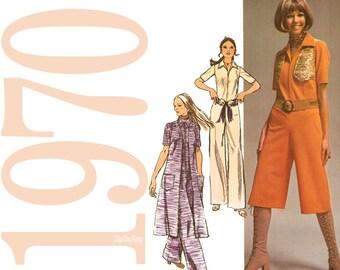 70s Jumpsuit Vintage Pattern - B32 - Simplicity 9213 - Uncut, Factory Folds