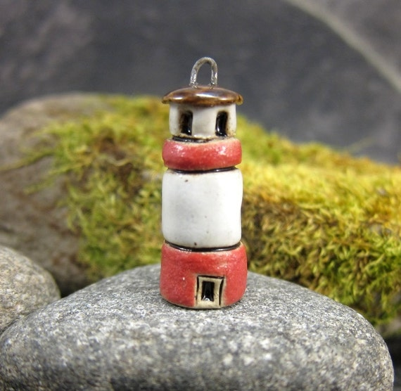 Red Lighthouse...Stoneware Pendant / Ornament