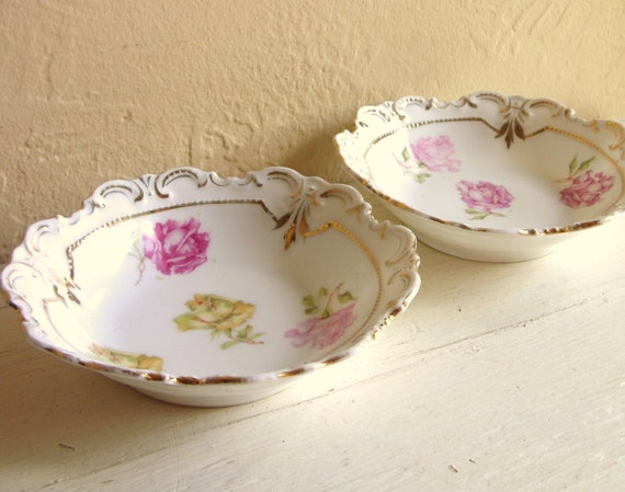 Pair of Vintage Porcelain Rose Dishes Cottage Style 2 Two