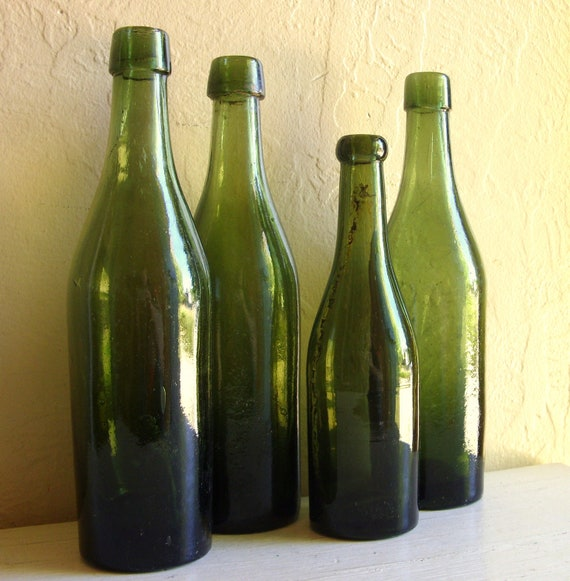 Dark Green Glass Bottles 4 Old Bottles Vignette Centerpiece Rustic Wedding Vases