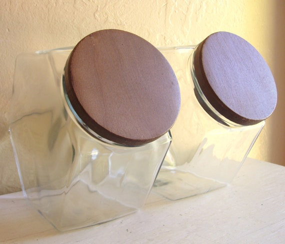 Pair of Clear Glass Cookie or Candy Jars with Wood Lids Farmhouse Chic