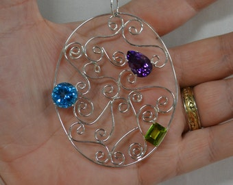 Sterling Silver Filigree Pendant with Amethyst, Blue Topaz and Peridot Gems
