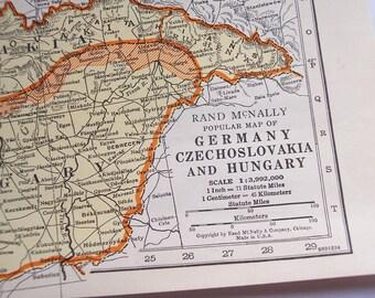 Germany, Czechoslovakia, 1930s Vintage Atlas Map, Hungary Spain, Portugal, old map