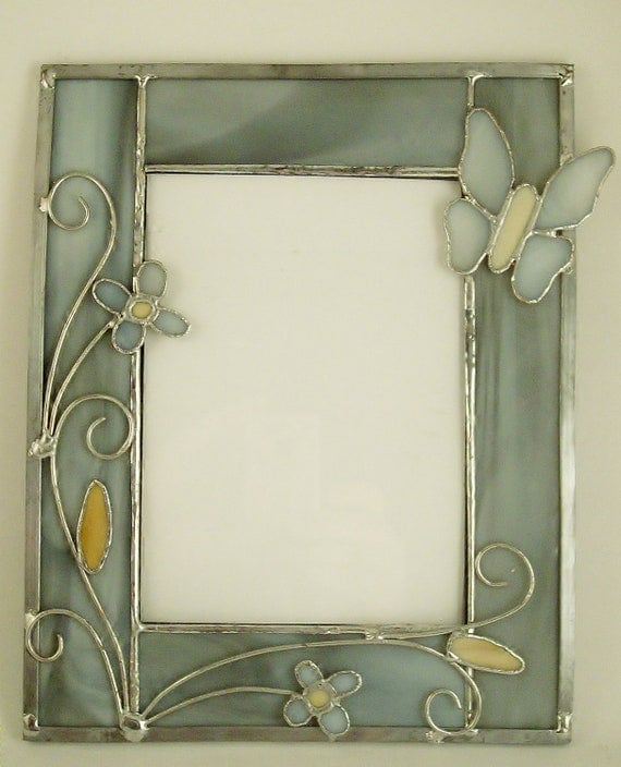 5 by 7 stained glass picture frame cream and by artglassbypaul. Black Bedroom Furniture Sets. Home Design Ideas