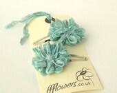 Seafoam Flower Hair Clips