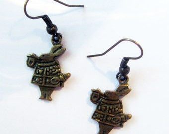 Pair of Brass Alice in Wonderland Rabbit Earrings Jewelry Accessories Charm Gift