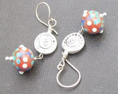 beaded earrings silver plated  sun medallion and lampwork beads- sassy sun