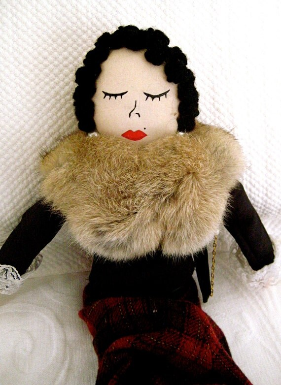 MAISIE the Vintage CLOTH DOLL with fur collar and little purse/ Hand Made Doll/ Plaid Skirt