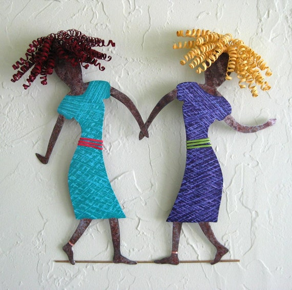 Metal Wall Art Sculpture - Dancing Duo - Two Ladies Dancing Blonde Redhead Sisters Friends Couples 16 x 17