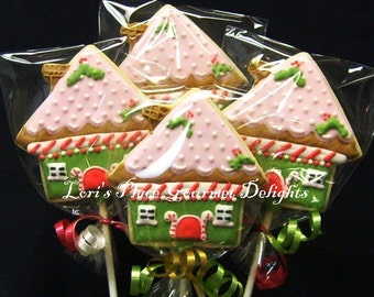 Gingerbread House Cookie Pops - Gingerbread House Cookies - 1 Dozen