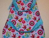 Children's Montessori Style Apron - Art Smock - Lavender Birds & Flowers - Fits 2-6 years