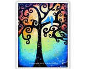 Love Birds Giclee Art Print - Swirling Tree of Life Whimsical Wall Art - 8.5x11 Signed