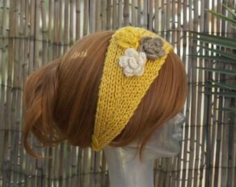 Handmade Knit Yellow Head Wrap Earwarmer Headband with Crochet Three Flower