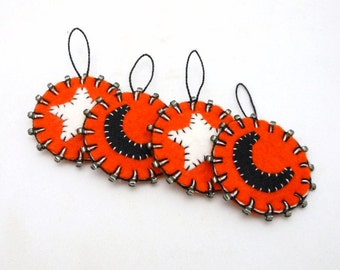 Beaded Halloween Penny Ornaments with Moon and Star Design - Set of 4