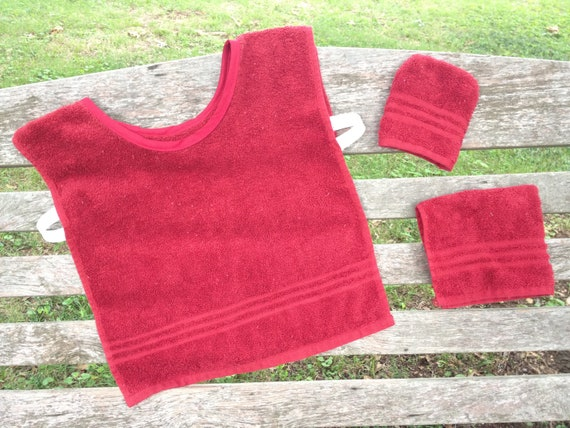 Montessori Toddler Apron Set, Red Terry Cloth (for Practical Life and Water Activities)