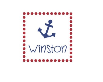 Personalized Anchor and Name Square Polka Dots Border - vinyl wall decal