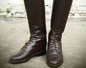 Vintage, leather, horse, riding, equestrian, boots, 6, 5.5, 5 1/2, cowboy, laces, lace, up, chocolate, brown, tall, knee