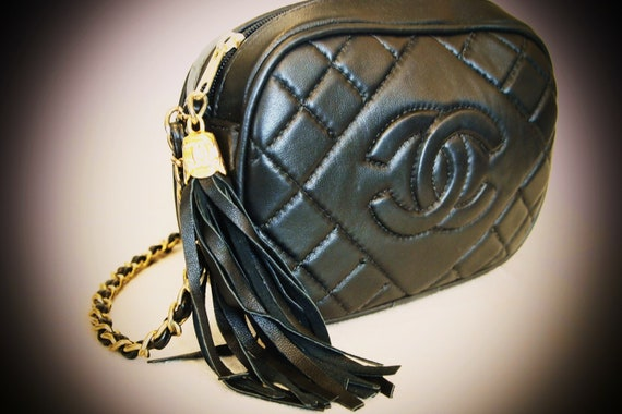 Vintage, Black, Leather, Faux, Chanel, Shoulder, Bag, Gold, Chain, Tassel, Quilted, Small